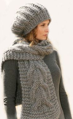 Hand Knit Slouch Hat and Scarf with cables Best by tvkstyle, $120.00