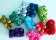 crochet gummy bears. Could probably also add an extra set of lefts and tweak the head a bit to make water bears (nerdy? yes.)