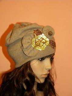 Upcycled sweater hat - beautiful!