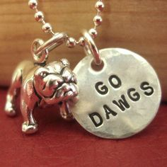 "Go Dawgs. Bulldog Charm Necklace - Hand Stamped 1/2"" Disc - Georgia Bulldog Necklace - Mississippi State Bulldogs on Etsy"