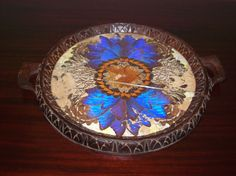 Antique 1920s Handmade Hand Carve Mahogany Deco Butterfly Wing Tray | eBay, £187.06