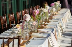 Long table with pink centerpieces