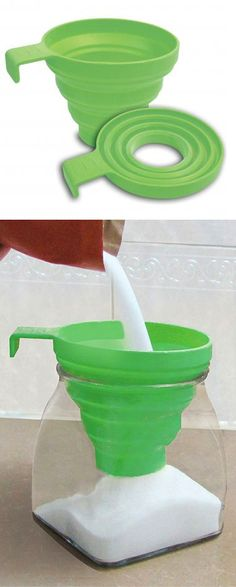 Collapsible funnel // super-handy mom-invented kitchen tool! #product_design kitchen gadget, kitchen tools, kitchen stuff