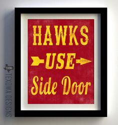 Hawks Use Side Door