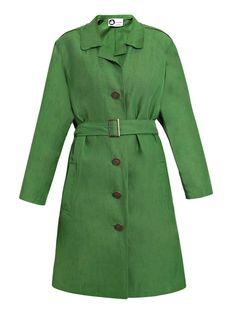 Up your sartorial ante with this green washed linen-blend coat from Lanvin.