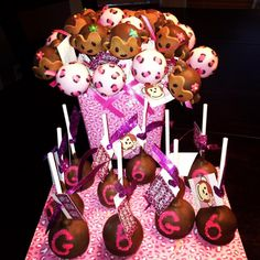Monkey and pink leopard cake pops by The POPcakery