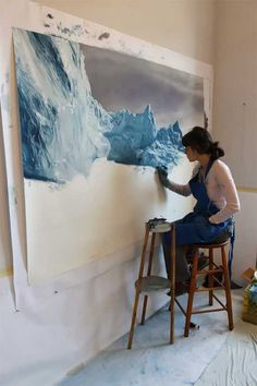 She paints with her fingers... such incredible water.