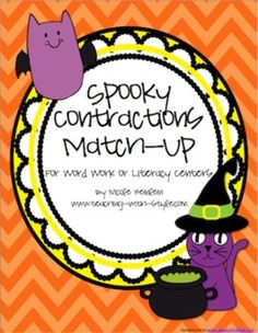 $ Halloween Themed Contractions cards.  3 different sets: easy, medium, and hard.  One recording sheet that works for all three games.