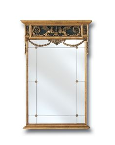 Classic European mirror with griffins and scroll accents. Finished in antique gold.