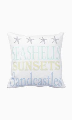 Pillow Cover Beach Decor Summer Seashells Sunsets