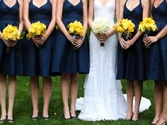 I love this yellow and navy!!  perfect wedding :)