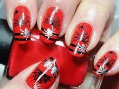 spiders, nailart, nail art designs, nail art ideas, red nails, nail arts, halloween nail art, acrylic nail designs, halloween nails