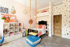 little girl bedrooms, kid bedrooms, kid rooms, nook, swing