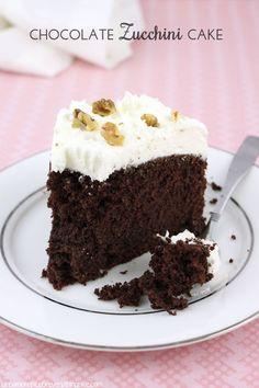 Chocolate Zucchini Cake with Sour Cream Frosting & Walnuts