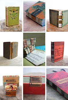 Custom Handstitched Vintage journals by odelae
