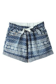 ROMWE | ROMWE Drawstring Snowflake Print Pocketed Shorts, The Latest Street Fashion