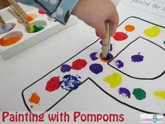 Letter P Activities - Painting with Pompoms
