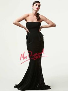 Mac Duggal Black White Red Peplum Skirt Pageant Gown style 85364R