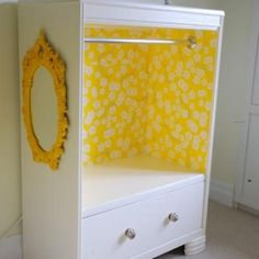 Take out a few drawers, add a rod and a cute mirror on the side for little girl's room! Super cute!!!