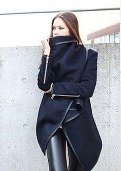 Women's long sleeve solid color batwing irregular cappa cloak loose tweed coat online