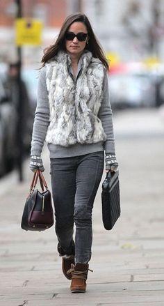 Pippa Middleton in a Fur Vest