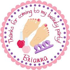 Spa Party Mani/Pedi.  Personalized stickers by partyINK.