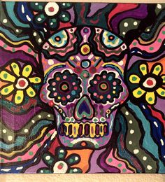 Colorful Day of The Dead sugar skull canvas painting. on Etsy, $25.00