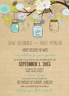 rustic Wedding Invitation Package with Flowers by RockStarPress