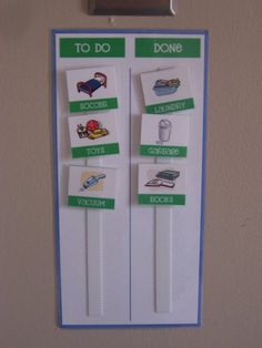 Help your kids clean their room on their own!  A to-do list on velcro strips.