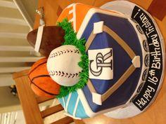 Crimson Cake - Vista, Ca.  Denver Broncos, Colorado Rockies, Denver Nuggets birthday cake 2013 hubbi birthday, cake option, denver nugget, denver broncos cakes, colorado rocki, nugget birthday, hubby birthday, cake toppers, birthday cakes