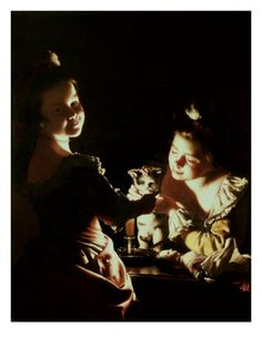 Two Girls Decorating a Kitten Giclee Print by Joseph Wright of Derby - AllPosters.co.uk