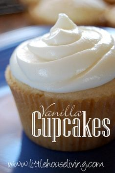 Simple, classic Vanilla Cupcakes. These are the perfect texture, plus they freeze well so you can make them in advance!