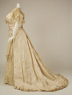 Wedding Dress (side view) 1890, American, Made of silk and cotton