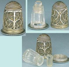 Antique English Sterling Silver Filigree Thimble/Perfume Bottle; Circa 1780