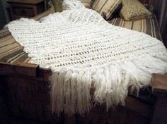 White Bedroom White Throw Blanket for Bed, White Decor, White Home Decor Afghan with Fringe ~ Handmade by CricketsHome