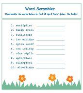 April Fools Day word scramble (each scramble spells April Fools)