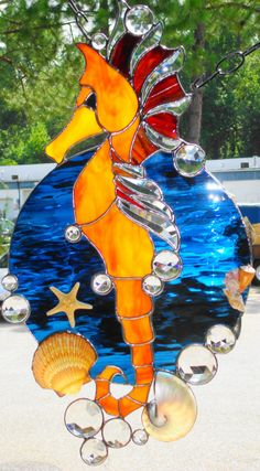 ~~Stained Glass Seahorse Suncatcher
