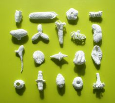 A small collection of twenty explorative crochet sculptures