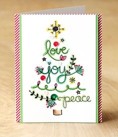 Lawn Fawn - Peace Joy Love stamps, 6x6 paper and mixed sequins _ fabulous design by Lisa! Make a tree from sentiments by Lisa Spangler for Lawnscaping Challenge!