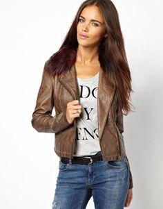 Enlarge River Island Leather Look Double Zip Biker Jacket With Fur Collar