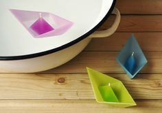 These adorable origami boat candles are self-contained and float beautifully in water.
