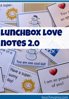 a little more lunchbox love | wintertime or ANYtime lunchbox love notes | printable or use your plasticware at home | teachmama.com
