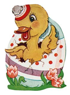 Retro Easter Duck in an Easter Egg – Click for printable clip art picture @ Vintage Fangirl