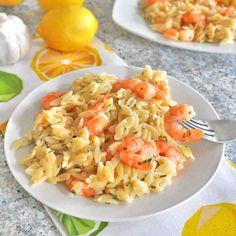 lemon shrimp, garlic lemon, orzo recipe
