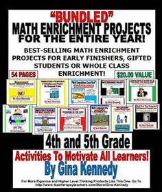 BUNDLED!! THINKING OUTSIDETHE MATH BOX! MATH ENRICHMENT PROJECTS FOR THE ENTIRE YEAR! EXCELLENT FOR EARLY FINISHERS, GIFTED STUDENTS OR WHOLE CLASS ENRICHMENT! !  Common Core and STAAR Aligned!   I have bundled all of my top selling enrichment projects. Each project is sold individually.