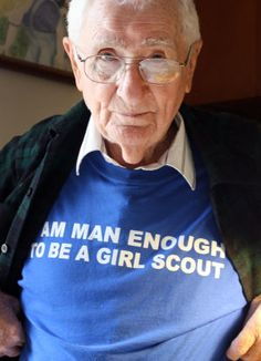 "Legendary Girl Scout leader Hank Harris is ""man enough to be a Girl Scout"". What a great story."