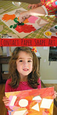 preschool shape crafts, contact paper, paper shape, paint, kids shape art