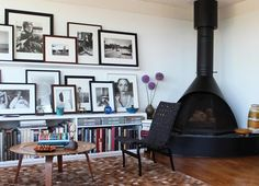 living rooms, galleri, fireplac, photo wall, gallery walls, display, hous, shelv, picture frames