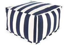 Striped Outdoor Ottoman