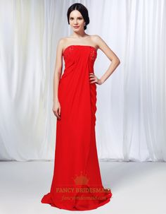 Strapless Chiffon Dress With Jewel Embellishment, Red Chiffon Prom Dress, Chiffon Gown With Side Drape And Beaded Detail, Red Chiffon Strapl...